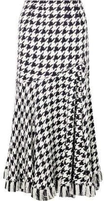 Oscar de la Renta Fringed Houndstooth Wool-blend Tweed Midi Skirt
