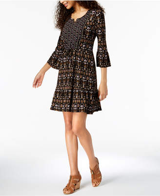 Style&Co. Style & Co Mixed-Print Drawstring-Waist Dress, Created for Macy's