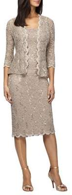 Alex Evenings Two-Piece Lace Jacket and Shift Dress Set