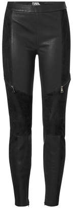 Karl Lagerfeld Leather Leggings with Suede