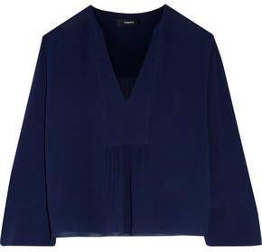Theory Matara Gathered Silk-Georgette Blouse