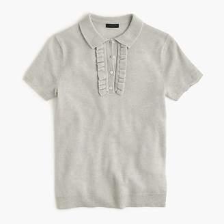 J.Crew Italian cashmere ruffle polo sweater