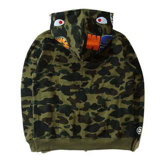 A Bathing Ape Sunny Popular BAPE Shark Head Coat Full Zipper Camouflage Jacket Hoodie (, S)