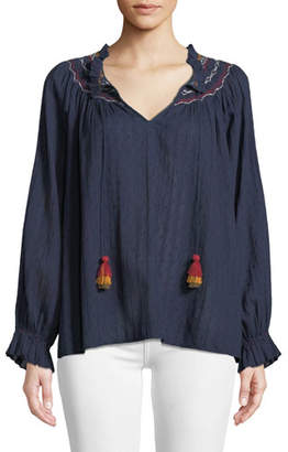 Velvet Trudie Embroidered V-Neck Blouse