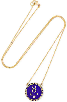 Foundrae - Karma 18-karat Gold, Diamond And Enamel Necklace