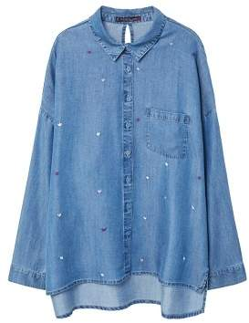 Violeta BY MANGO Embroidered denim shirt