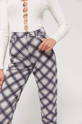 BDG High-Rise Slim Straight Jean – Plaid Denim