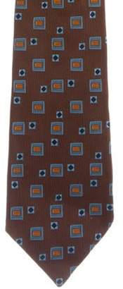 Etro Geometric Pattern Silk Tie brown Geometric Pattern Silk Tie