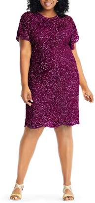 Adrianna Papell Beaded Flutter Sleeve Sheath Dress