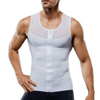 Ggpyy Mens Slimming Body Shaper with Zipper Compression Vest Waist Girdle Shirt Shapewear(,M)