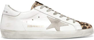 Golden Goose Superstar Leopard-print Calf Hair, Distressed Leather And Suede Sneakers - Off-white