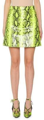 Off-White Python-Print Leather Mini Skirt