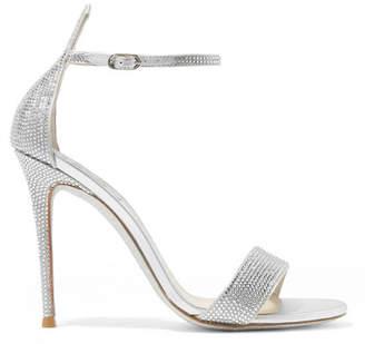 Rene Caovilla Celebrita Crystal-embellished Metallic Satin And Leather Sandals - Silver