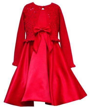 Rare editions 7-16 matte satin dress with cardigan