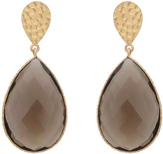 Carousel Jewels - Double Drop Smoky Quartz & Golden Nugget Earrings
