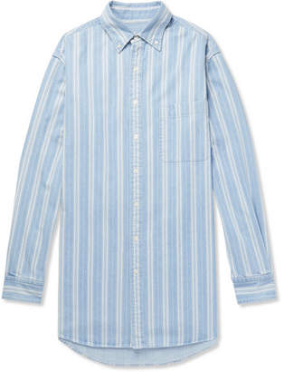Balenciaga Oversized Button-Down Collar Striped Denim Shirt - Light blue