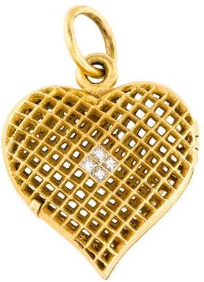 Cathy Waterman 22K Diamond Lacy Heart Locket Pendant