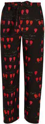 Heart-print straight-leg trousers