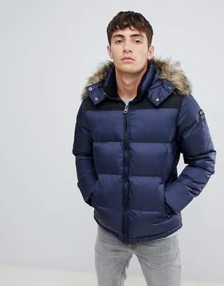 Schott Puffer Jacket Detachable Hood & Faux Fur Trim 2 Tone Slim Fit in Navy/Black