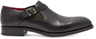 Alexander McQueen Monk Strap Leather Derby Shoes - Mens - Black