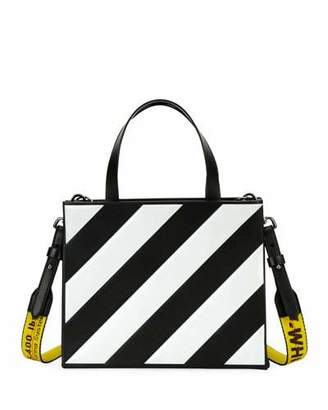 Off-White Small Diagonal-Stripe Box Tote Bag