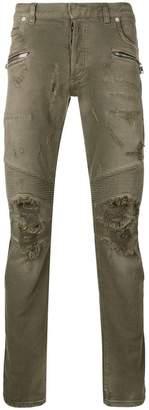 Balmain distressed style jeans
