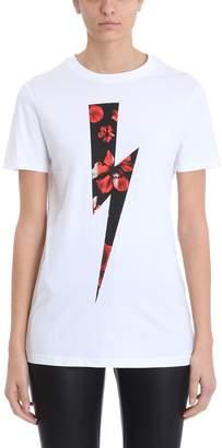 Neil Barrett Lightning Bolt Flowers White Cotton T-shirt