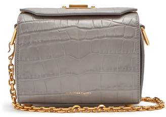 Alexander McQueen Crocodile-effect leather box bag