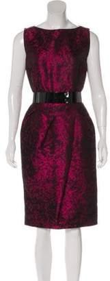 Michael Kors Belted Silk-Blend Dress Plum Belted Silk-Blend Dress
