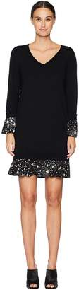 Moschino Merino Wool Dress with Star Print Detail Women's Dress