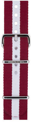 Briston 20mm Harvard Striped Nylon Watch Strap, Burgundy/White