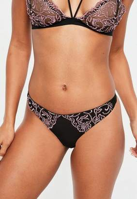 Missguided Black Corded Lace Thong