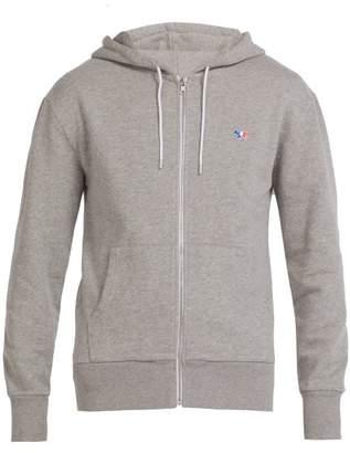 MAISON KITSUNÉ Zip Through Cotton Hooded Sweatshirt - Mens - Grey