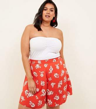 New Look Curves Red Floral Wide Leg Shorts