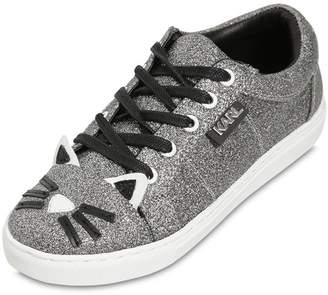 Karl Lagerfeld Choupette Glittered Leather Sneakers