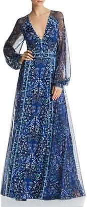 Tadashi Shoji Scarf-Printed Gown