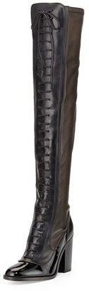 Laurence Dacade Idylle Over-the-Knee Lace-Up Boot, Black $1,850 thestylecure.com
