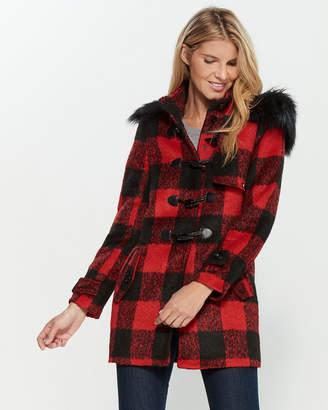 Gaudi' Gaudi Faux Fur Trim Hooded Plaid Coat