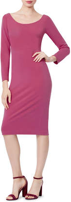 Betsey Johnson Scuba Long-Sleeve Midi Sheath Dress