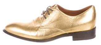 Celine Metallic Almond-Toe Oxfords