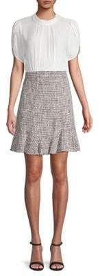 Rebecca Taylor Petal-Sleeve Tweed Shift Dress