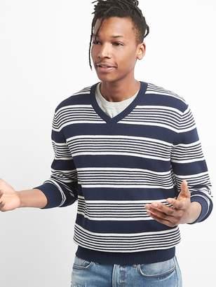 Gap Lightweight Stripe V-Neck Pullover Sweater