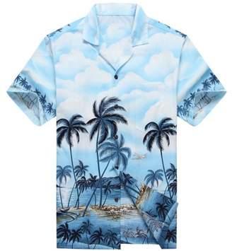 Hawaii Hangover Made in Hawaii Men's Hawaiian Shirt Aloha Shirt Palms Diamond Head Edge Blue