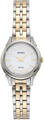 Seiko Women's Slimline Two Tone Stainless Steel Solar Watch - SUP344