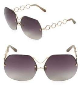 Linda Farrow Luxe 66MM Hexagonal Sunglasses