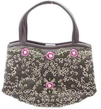 Manolo Blahnik Vintage Floral Satin Evening Bag