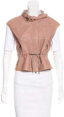 Brunello Cucinelli Drawstring-Accented Leather Vest
