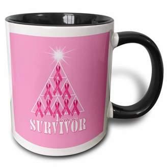 3dRose Breast Cancer Pink Ribbon Christmas Tree Survivor - Two Tone Black Mug, 11-ounce
