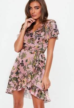 Missguided Pink Short Sleeve Floral Print Tie Waist Tea Dress
