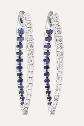 Christina Melissa Kaye 18-karat White Gold, Diamond And Sapphire Earring